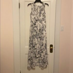Sleeveless chiffon dress, black & white floral, 8